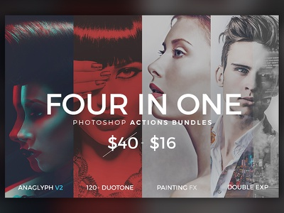 4 in 1 Photoshop Actions Bundles addons plugins adobe templates style filter photoshop actions kit exposure double