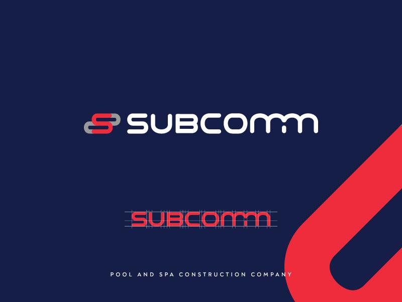 Subcomm Pool and Spa Construction Logo subcomm construction company logo pool construction swimming pool construction construction company logo