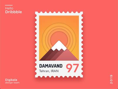 Damavand gradient sketch invision studio mountian sun stamp 2d animation orange red cloud damavand illustration vector ui