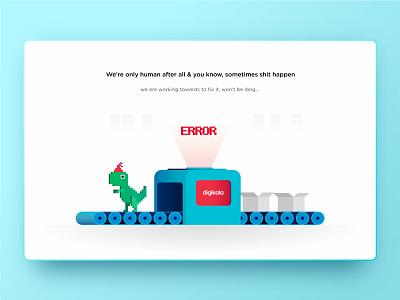 Digikala 500 Error chrome t-rex icon vector identity ux ui illustration error 500 error dinosaur conveyor app