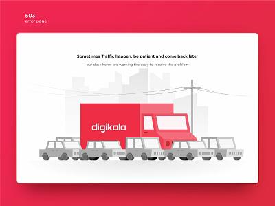 Digikala 503 Error 🚚 illustration ui identity error vector desain web car truck traffic skyline error page 503