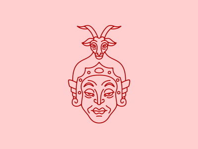 The General Anila face icon illustration china twelve divine general