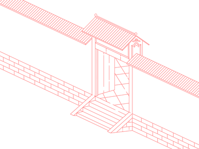 Door red china lines illustration