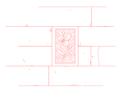 flower red line china illustration lineal wall flower
