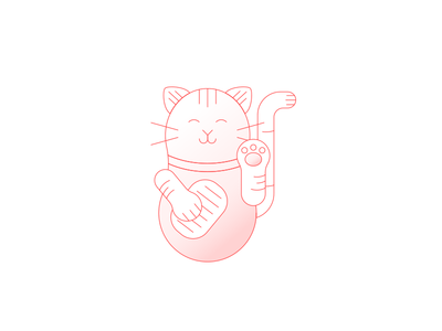 Chinese lucky cat red illustration lines cat lucky chinese draw