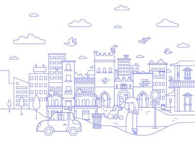 MI day icon milano car dog plane lines illustration city