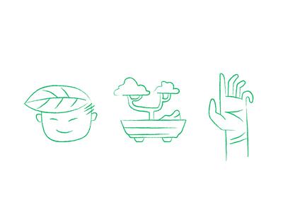 Bonsai design illustration grow person head plant hand green icon icons bonsai