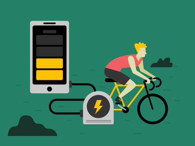 Bike Phone design flat charge character phone cycle outdoor charger energy illustration bike