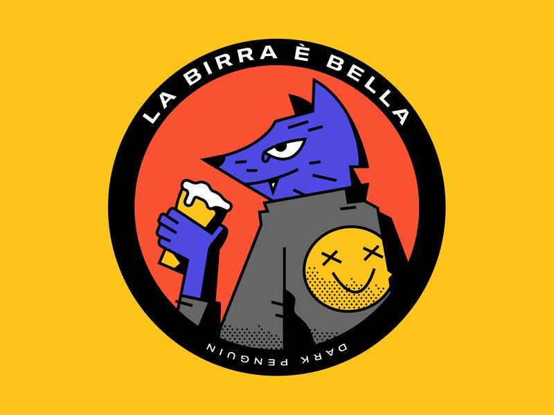 La birra è bella coaster jacket birra beer wolf dog lines vector design character illustration