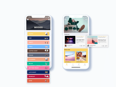 Mood Selection & Browse Page UI product design product app design mobile ui mobile app mobile branding app design minimal flat illustration ux ui