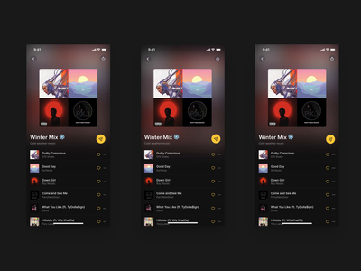 Playlist Sharing mobile animation product app ui design