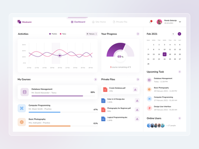 yeeeee dashboard design uiux design ui inspiration dashboard template education calendar class course detail clean minimal exploration ux ui dashboard ui dashboard