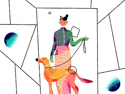 GIRLWITHDOG dog girl neosuprema abstract illustration art dribbble drawing illustration colors art adobe