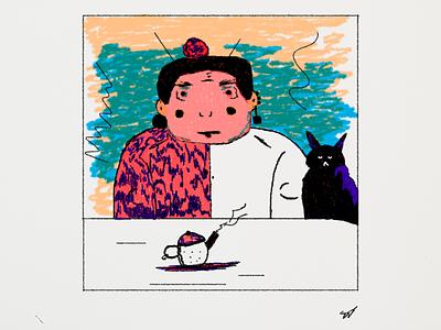 CAT tea cat faces girl adobe photoshop illustration art dribbble drawing illustration colors art adobe