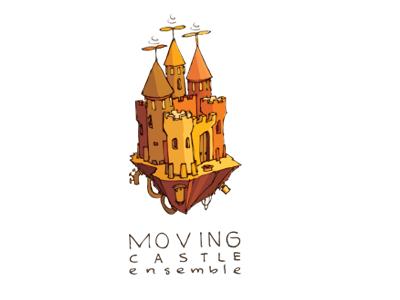 Moving Castle castle logo design illustration