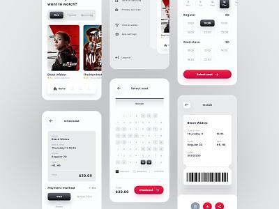 Movie App Ticket Booking Concept clean design clean ui ticket movie app design app mobile app design uidesignpatterns mobile app mobile uidesigns ui  ux design uidesign ui ux uiux ui