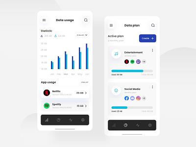 Data Plan App Concept clean design ui ux clean ui data usage plans chart mobile app mobile ui ui design uidesignpatterns userinterface uidesign