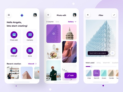 Shashin - Photo Editor Application clean ui ui design ui  ux app design photo app editing photo editor photo user profile uiux uidesign
