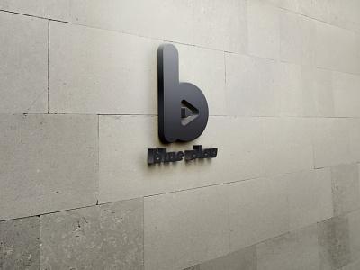 blue play logo ui design illustration branding logo