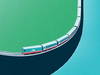 Thong Nhat Train - Tàu thống nhất thongnhattrain train vietnam nguyentantai minimalist landscape illustration minimalist illustration vietnam illustration vector illustration vietnam designer flat illustration illustration