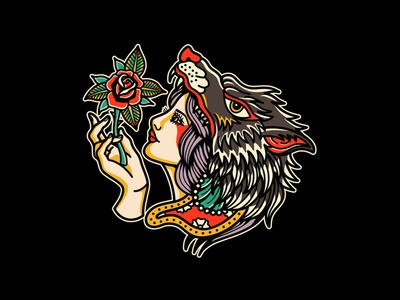 Lady wolf vector merch design clothing brand commission brand teedesign neotraditional badgedesign graphicdesign traditional tattoo oldschool tattoo clothing line apparel design illustration design artwork