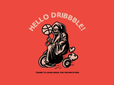 hello dribbble! vintage skull simple design invitation illustration hello dribbble grim reaper enjoy design branding design artwork apparel design
