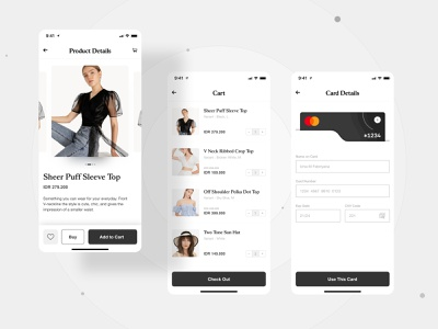 Fashion Commerce App mobile app design ui app ui  ux ui design payment method cart product design product page fashion design fashion ecommerce app commerce