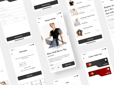 Fasion Commerce App mobile app app ui  ux ui design cart payment method register form login form verification otp product page ecommerce app commerce ecommerce fashion app fashion design fashion