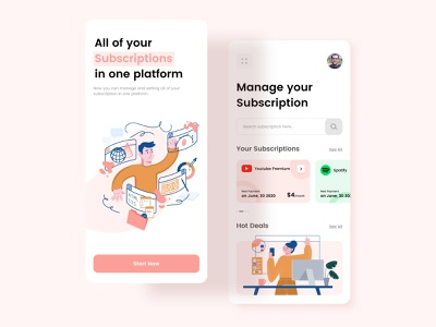 Subscription Management App ui app home homepage ui  ux mobile app onboarding design ui design illustrator payment subscription