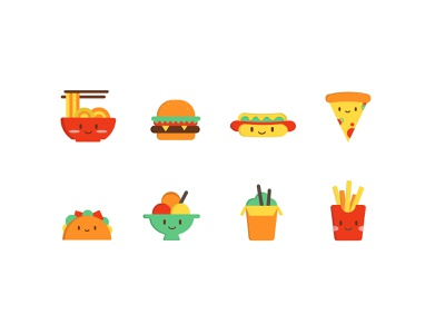 Food Icon design vector illustration ice cream taco pizza hotdog burger noodle food icon design icon set icon
