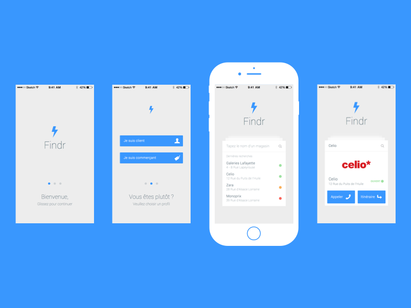 Findr app ios app ui ux interface iphone flat minimalist simple find sketch