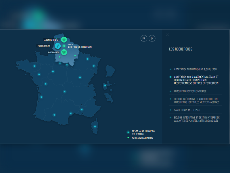 Interactive France Map institute research inra project interface ux ui france interactive map