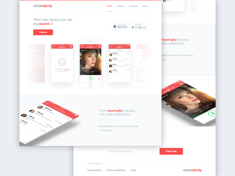 VoiceCandy landing page website landing interface ux ui ios app voice voice candy