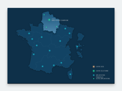 INRA Interactive Map france inra blue interactive flat minimalist dark design map