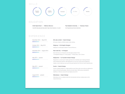 Clean Resume - Light competence cv white light minimalist clean resume
