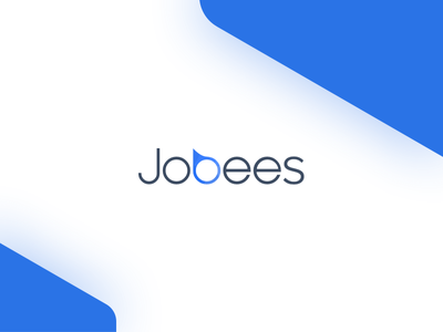 Jobees logo white light blue simple clean minimalist identity logo jobs bees jobees