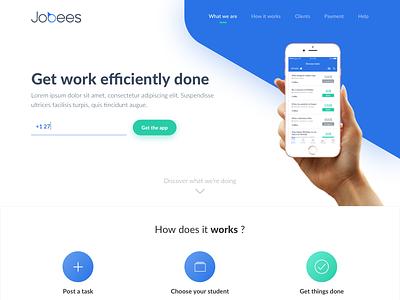 Jobees - Website white colors iphone green blue light minimalist clean website job jobs jobees