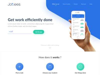 Jobees - Website white colors iphone green blue light minimalist clean website job jobs jobees