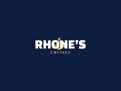 Rhone's Cruises logo yellow blue minimalist anchor water sea cruises branding brand identity company logo