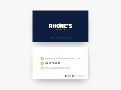 Rhones cruises yellow blue minimalist anchor water sea cruises brand card visit