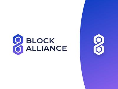 BlockAlliance - Logo spectre technology blockchain branding identity gradient purple design logo ba blockalliance