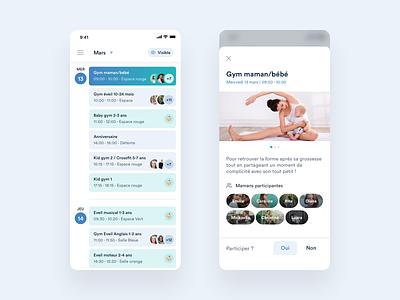 Baby Gym app ui user inteface ios clean minimalist moms gym app baby app gym baby