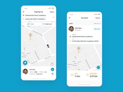 Taxi app design blue simple transportation booking minimalist flat user info user interaction user interface uxui app  design cab booking vtc chauffeur app taxi app cab taxi