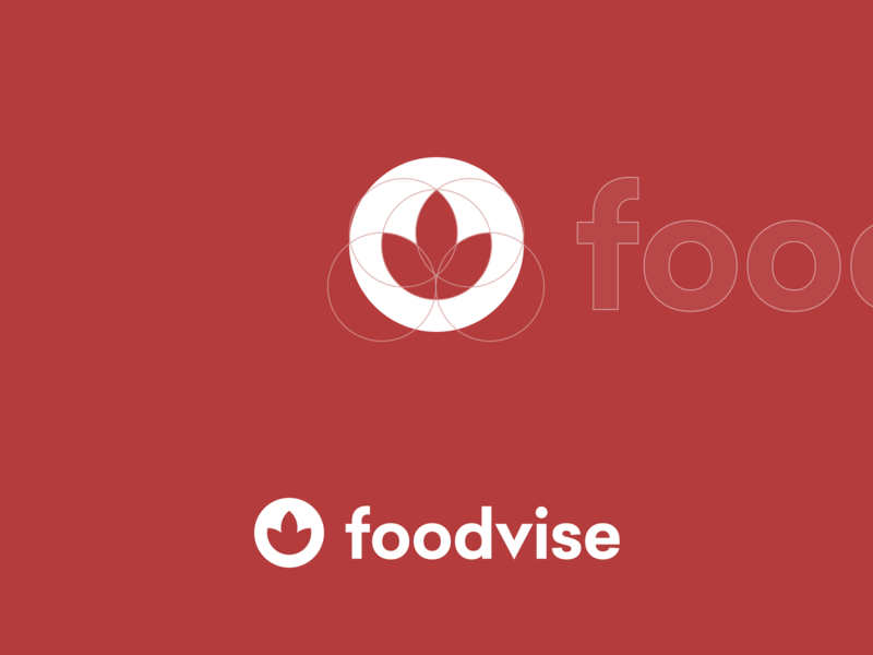 Foodvise - Logo Construction food logo clean simple project identity brand circular grid circular circular logo plant red brand identity construction branding design branding logodesign logo food foodvise