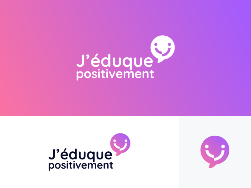 J'éduque Positivement - Branding brand identity educate communicate smiley smile bulb logo bulb violet pink gradient adult communication positivity logodesign logo branding school children educational positive