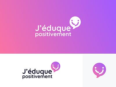 J'éduque Positivement - Branding brand identity educate communicate smiley smile bulb logo bulb violet pink gradient adult communication positivity logodesign logo branding school children educational positive