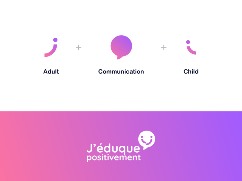 J'éduque Positivement - Logo Construction violet pink gradient flat minimalist logo design positive education children child bubble communication adult brand identity brand design branding construction logo