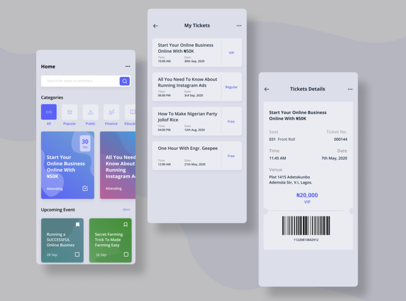 Event App Concept illustration mobile app design ux ui event concept concept app design