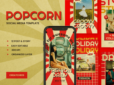 POPCORN Social Media Template facebook template advertising social media pack hypebeast girl story stories red quotes portfolio instagram story instagram post instagram illustration design graphic branding art