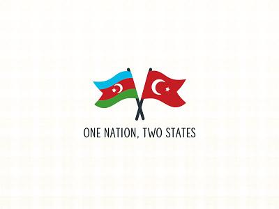One Nation Two States turkic red flag moon crescent star flags flag one states nation kardes turk azerbaijan turkey